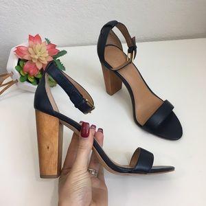 J. Crew blue leather wooden heel
